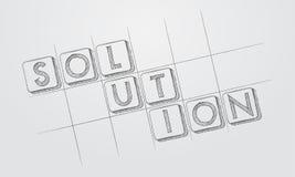 Solution dans les blocs tirés par la main de style Images libres de droits