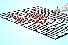 Solution de dessin de main sur le labyrinthe Image stock