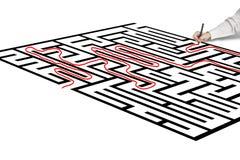 Solution de dessin de main sur le labyrinthe Photos stock