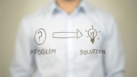 Solution de problème, Cocept, écriture d'homme sur l'écran transparent Images libres de droits