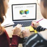 Solution de réponse de difficulté résolvant le concept de résultat de stratégie images stock