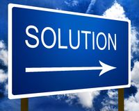 Solution direction road street sign and the sky Stock Photos