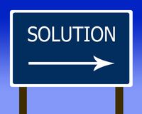 Solution direction street sign and the sky Royalty Free Stock Photos