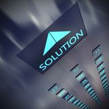 Solution elevator. Image of an elevator with written solution vector illustration