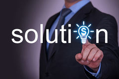 Solution Finance Idea on Touch Screen. On working business concept Stock Images