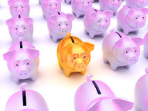 Solution: Golden piggy bank. Among others over white Royalty Free Stock Photo