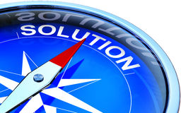 Solution. High resolution rendering of a compass with a solution icon Royalty Free Stock Photography