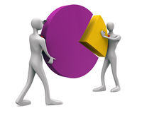 Solution icon. / 3d persons with a pie chart Stock Photo