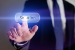 Solution. Icon solution button, business concept Stock Image