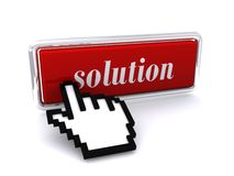 Solution icon and hand cursor. Red, 3D icon with the word Solution and a hand cursor Stock Photos