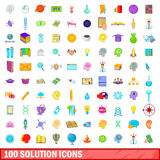 100 solution icons set, cartoon style. 100 solution icons set in cartoon style for any design vector illustration Stock Images