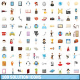 100 solution icons set, cartoon style. 100 solution icons set in cartoon style for any design vector illustration Royalty Free Stock Image