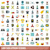 100 solution icons set, flat style Royalty Free Stock Photos