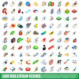 100 solution icons set, isometric 3d style. 100 solution icons set in isometric 3d style for any design illustration vector illustration
