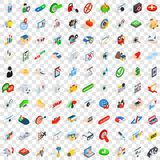 100 solution icons set, isometric 3d style Stock Photos