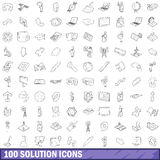 100 solution icons set, outline style. 100 solution icons set in outline style for any design vector illustration Stock Image