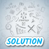 Solution Ideas Means Solve Planning And Consider. Solution Ideas Indicating Resolution Solve And Innovations Stock Image