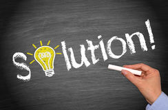 Solution - light bulb concept with text on chalkboard royalty free stock photos