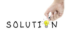 Solution with light bulb Stock Image