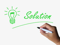 Solution Lightbulb Shows Solutions Resolutions Stock Photo