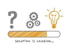 Solution is loading - vector illustration. Solution Concepts and problem solving in progress. Vector Doodle illustration stock illustration