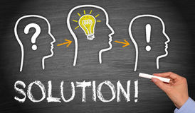 Solution, looking for bright idea. Text 'solution' in uppercase white letters on chalkboard with illustration of three heads, one with question mark, one with Stock Photo