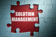 Solution management. Missing pieces from a jigsaw puzzle revealing solution management Royalty Free Stock Photography