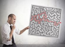 Solution for the maze. Businessman finding solution for the maze Stock Images