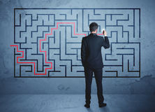 Solution of a maze Stock Photo
