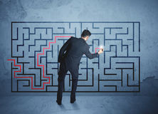 Solution of a maze Royalty Free Stock Photography