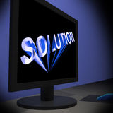 Solution On Monitor Showing Successful Strategies Royalty Free Stock Photos