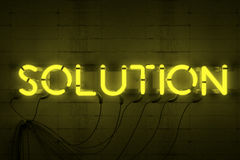 Solution Neon Sign Royalty Free Stock Photo