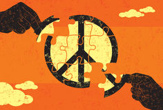 Solution for Peace. Two hands connecting puzzle pieces to find a solution for peace. The hands and puzzle pieces are on a separate labeled layer from the Stock Photos