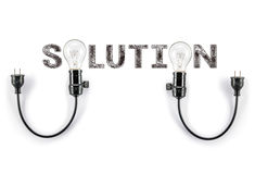 Solution phrase and light bulb, hand writing, Marketing Business Royalty Free Stock Image