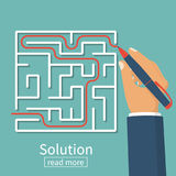 Solution of problem in case. Business concept. Find way out of maze. Businessman with pen leads line labyrinth. Choice way. Vector illustration flat design vector illustration