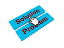 Solution problem icons. Red on blue rectangle icons or buttons with the words Solution and Problem and a hand cursor hovering over them Stock Image