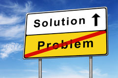 Solution road sign concept. Solution and problem road sign concept image with blue sky Royalty Free Stock Photo