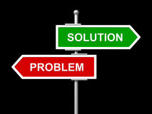 Solution and problem road sign. 3d render of Solution and problem road sign isolated on black background Stock Image