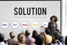 Solution Problem Solving Share Ideas Concept. People Discuss Solution Problem Solving Share Ideas Stock Images