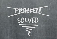 Solution for a problem written on blackboard Stock Photography