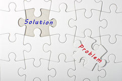 Solution, Problem written on white puzzle, jigsaw Royalty Free Stock Images