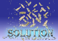 The solution of problems. Background of falling dollars and sparkling stars Stock Photo