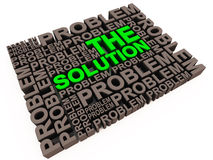 Solution and problems. Lots of problems with solution in green, text in 3d, resolution concept royalty free illustration