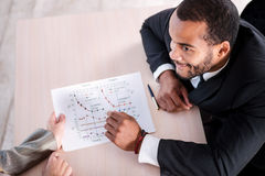 Solution of problems. African businessman are risen graphics on Stock Image