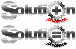 Solution and Problems Metal Gear. Written metal solution with gear that crushes word problems with plus and equal symbol Royalty Free Stock Image