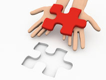 Solution Puzzle. A 3d image of solution puzzle on white background Stock Photo