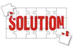 Solution puzzle. Puzzle pieces representing the solution, two more pieces missing Stock Image