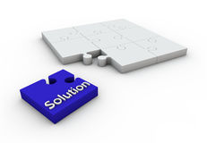 Solution Puzzle. Cyan jigsaw white background concept design Stock Photo