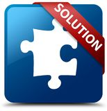 Solution (puzzle icon) blue square button red ribbon in corner Stock Images