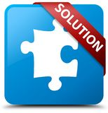 Solution (puzzle icon) cyan blue square button red ribbon in cor Royalty Free Stock Image